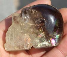 Rainbow*160g Carved NATURAL Smoky Quartz Crystal Alien Skull Healing