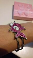 Cloisonné Pink Enamel Fish Cuff Bracelet / Bangle with Red Rhinestone Crystal***