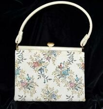 Vintage L And M Spot Lite Exclusive Beige w/ Blue & Pink Flowers Tapestry Purse