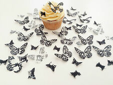 48 Edible Black and White Heaven Butterflies Pre Cut Wafer Cupcake Toppers