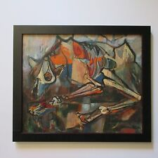 ABSTRACT EXPRESSIONIST PAINTING MODERNISM  MID CENTURY  MYSTERY ARTIST DOG BEAST