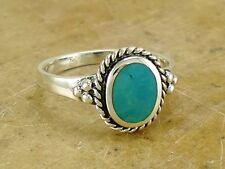 ELEGANT .925 STERLING SILVER TURQUOISE RING size 8  style# r2153
