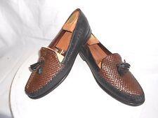 Men's Cole Haan Black & Brown Weaved Leather Dress Loafers Tassels Size 12 B