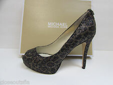 Michael Kors Size 10 M Black Gold Cheetah Glitter Heels New Womens Shoes