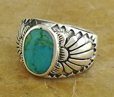 THICK MENS .925 STERLING SILVER TURQUOISE RING size 8  style# r1665