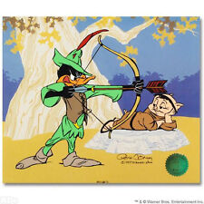 CHUCK JONES Hand Signed Animation Cel ROBIN HOOD Daffy Duck Porky Pig COA