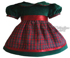 Green Velvet & Tartan Plaid Holiday Dress for Bitty Baby + Twins Doll Clothes