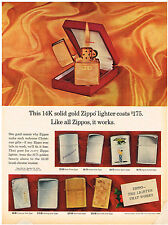 Vintage 1969 Magazine Ad For Zippo Lighter 14K Solid Gold Zippo And Sheaffer Pen