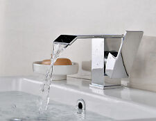 Luxury Lever Chrome Square Basin Mixer Swoop Tap Wide Waterfall Bath Sink Faucet