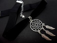 A LADIES GIRLS BLACK  VELVET & DREAMCATCHER CHOKER NECKLACE. NEW.