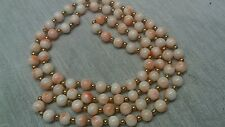 Salmon angel skin coral 14k gold beads necklace vintage beautiful