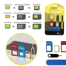 SET 3 IN 1 ADATTATORI NANO MICRO SIM IPHONE 6 GALAXY S6 NANOSIM MICROSIM METALLO