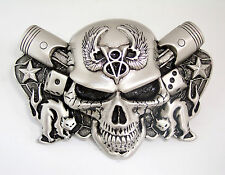 1932 Ford Winged V8 Flathead Evil Skull Belt Buckle Piston Rockabilly Rat Rod