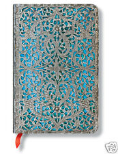 Paperblanks Writing Book Lined Mini Size Journal Silver Filigree Blue 3 x5 New