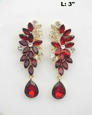 """3"""" Long Gold Tone Clear and Red Flower Rhinestone Chandelier Earrings"""