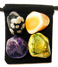 BLOOD VESSEL REPAIR Tumbled Crystal Healing Set = 4 Stones + Pouch + Card