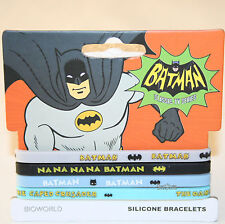 "NEW DC Comics Batman Silicone Rubber Bracelet 4 PK 1/4"" Wide Na Na Crime Fighter"