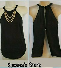 NWT BEBE SLEEVELEES LISA CHAIN HALTER TOP SIZE XS Sure to turn heads!!