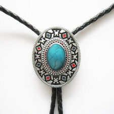 American Indian Southwest Western Cowboy Rodeo Bolo Tie Blue Color Stone