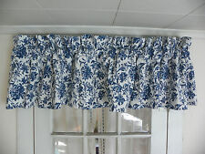 """RALPH LAUREN """"ORLEON"""" VALANCE-80"""" BY 17""""-100% COTTON-BLUE & WHITE-4 AVAILABLE"""