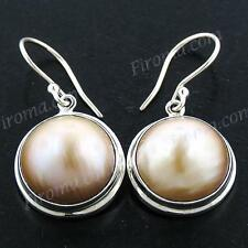 "3/4"" GOLD ROUND MABE PEARL 925 STERLING SILVER earrings"
