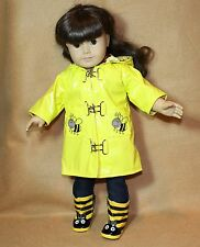 Doll Clothes fitting 18 inch Dolls Yellow Bumble Bee Vinyl Rain Coat Boots