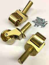 """New Set of 3 Solid Brass Grand/Baby Grand Piano Casters 1 7/8"""" Wheel"""