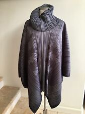 New w/o Tags PLEATS PLEASE Cowl Neck Gray Poncho Top, Size 3
