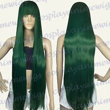 100cm Dark Green Heat Styleable long Cosplay Wigs With Bangs  VL_DGE