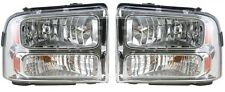 2005 - 2007 FORD SUPER DUTY (CHROME) HEADLIGHTS HEADLAMPS LIGHTS LAMPS PAIR
