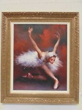 """Framed Original Oil On Canvas """"Swan Lake"""" By Stephen Pan Signed"""