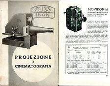 CATALOGO ZEISS IKON PROIEZIONE CINEMATOGRAFIA PROIETTORE CINEPRESA 8mm 16mm 35mm