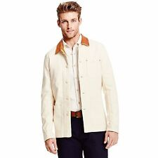 TOMMY HILFIGER MADE IN USA DENIM & LEATHER JACKET MEN'S SIZE S SMALL LIGHT BEIGE