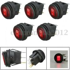 5pc 12V Car Boat Marine Round LED Red Light Rocker ON/OFF SPST Switch Waterproof