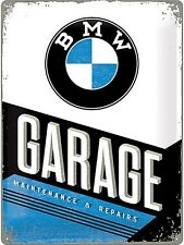 BMW Garage large embossed metal wall sign 400mm x 300mm (na)