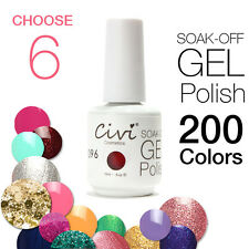 Lot of 6pcs Soak-Off UV/LED Gel Polish Nail Polish Long-lasting .5oz