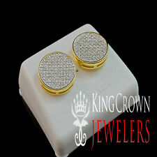 GENUINE DIAMOND MENS LADIES CIRCLE DESIGNER 14K YELLOW GOLD FINISH STUD EARRINGS