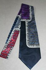 NWT Mens Lot's Of Music Notes Sheet Music Piano Key's On A Blue Neck Tie! #1229