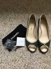 Chanel Black And White Chanel Kitten Peep Toe Pump Heels Shoes Size 38 Or 7.5