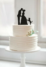 Mr and Mrs Hand in Hand and Kiss with Dog Cake Topper for Wedding Supplies