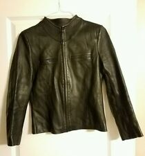 Vintage Soft Leather Womans Black Zip Front Jacket Medium Size Stylish!