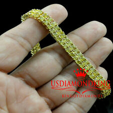 "LADIES WOMEN'S YELLOW GOLD FINISH CANARY LAB DIAMOND 2 ROW BRACELET 8.75"" TENNIS"