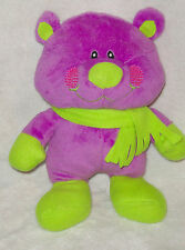 "NEN Plush Purple & Green Teddy Bear Scarf Pink Cheeks 12"" Stuffed Animal Toy"