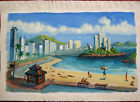 ORIGINAL RUSSIAN OIL CANVAS PAINTING SIVUKHIN PLAIN AIR BRAZIL SANTOS BEACH