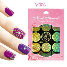 9 Tips/Sheet Nail Art Vinyls Stencil Stickers Lotus Flower Decoration Y004