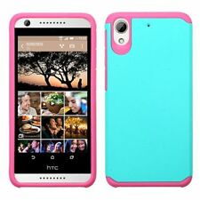 For HTC Desire 626 Teal Hot Pink Hard Silicone Hybrid Rubberized Case