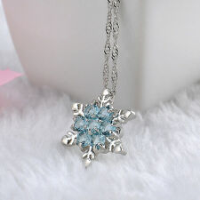 Girls Lady Blue Crystal Snowflake Pendant Zirconia Silver Necklaces Jewellery