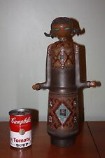 Vintage Decanter Art Pottery Vase Girl Handmade Statue Figure Ponytail OOAK Jug