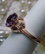 Victorian Natural Purple Amethyst Sterling Silver&Rose Gold Filigree Ring Size 6