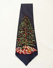 Christmas Tree Tie 100% Silk Blue Britches Great Outdoors Made In USA Holiday